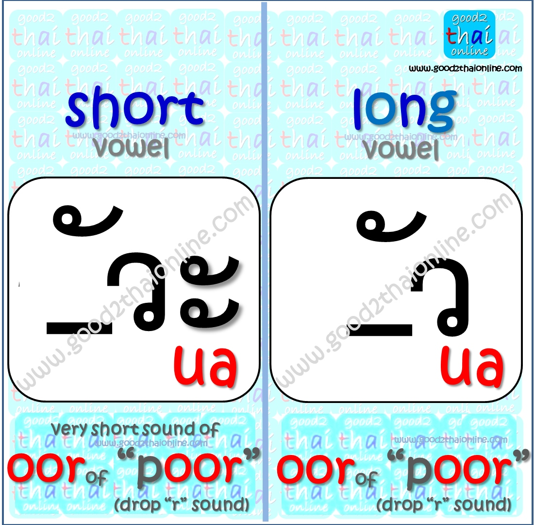 Ua Vowel Sound In Thai Vowels Good2thaionline